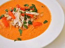 Quinoa Chicken Soup with Roasted Red Peppers