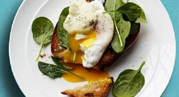 Spinach and Poached Egg Crostini