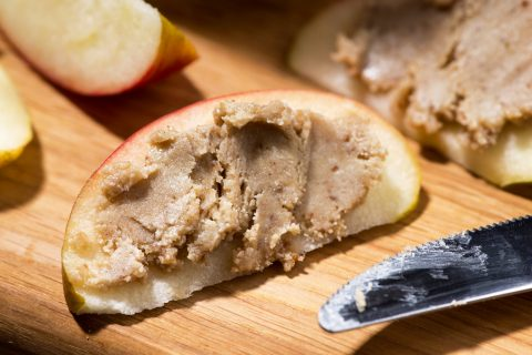 Ham Wraps with Almond Butter & Apples