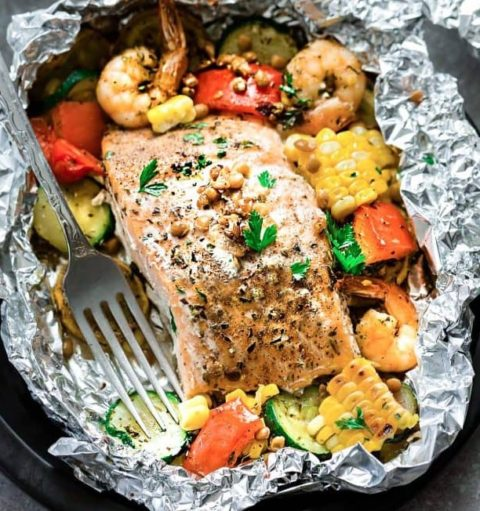 Salmon and Lentil Packets